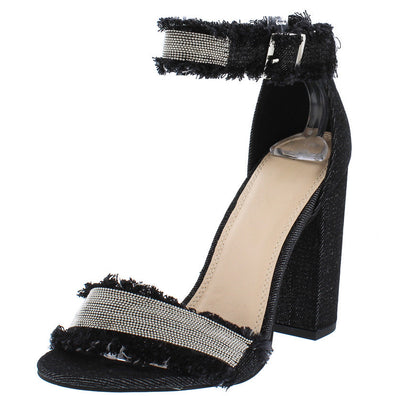 James Black Ball Chain Frayed Ankle Strap Chunky Heel - Wholesale Fashion Shoes