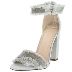 JAMES SKYBLUE BALL CHAIN FRAYED ANKLE STRAP CHUNKY HEEL - Wholesale Fashion Shoes