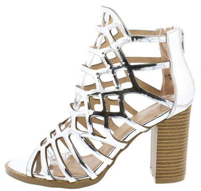Hazel13 Mirror Metallic Silver Caged Peep Toe Chunky Wood Heel - Wholesale Fashion Shoes