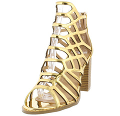 HAZEL13 MIRROR METALLIC GOLD CAGED PEEP TOE CHUNKY WOOD HEEL - Wholesale Fashion Shoes