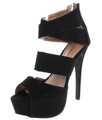 EDNA BLACK NB PU HEEL - Wholesale Fashion Shoes