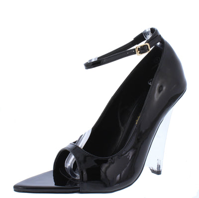 Edolie1 Black Peep Toe Ankle Strap Lucite Wedge Heel - Wholesale Fashion Shoes