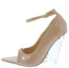 Edolie1 Nude Peep Toe Ankle Strap Lucite Wedge Heel - Wholesale Fashion Shoes