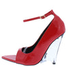 Edolie1 Red Peep Toe Ankle Strap Lucite Wedge Heel - Wholesale Fashion Shoes