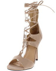APRIL NUDE CAGED OPEN TOE LACE UP ANKLE HEEL - Wholesale Fashion Shoes