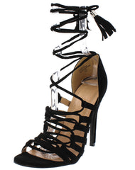 RAINE BLACK STRAPPY TASSEL LACE UP HEEL - Wholesale Fashion Shoes