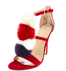 ALICE RED OPEN TOE T-STRAP MULTI COLOR POMPOM HEEL - Wholesale Fashion Shoes