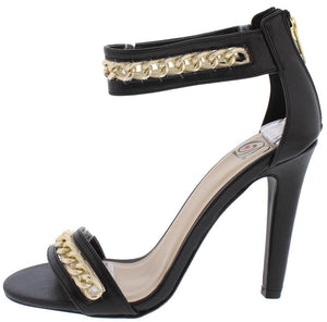 6dedea50971 Eisleys Black Gold Chain Open Toe Ankle Strap Heel - Wholesale Fashion Shoes