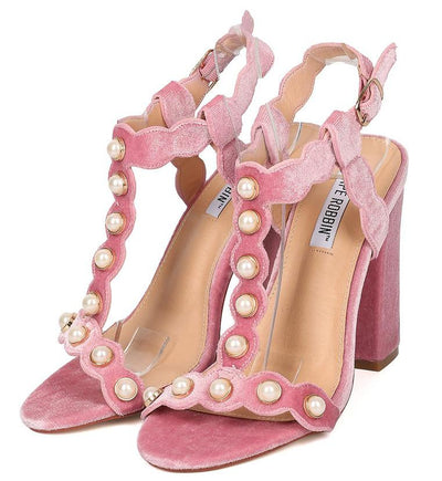 Ekko2 Blush Pearl Gold T-strap Chunky Heel - Wholesale Fashion Shoes