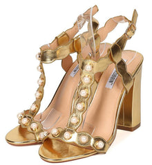 EKKO2 GOLD PEARL GOLD T-STRAP CHUNKY HEEL - Wholesale Fashion Shoes