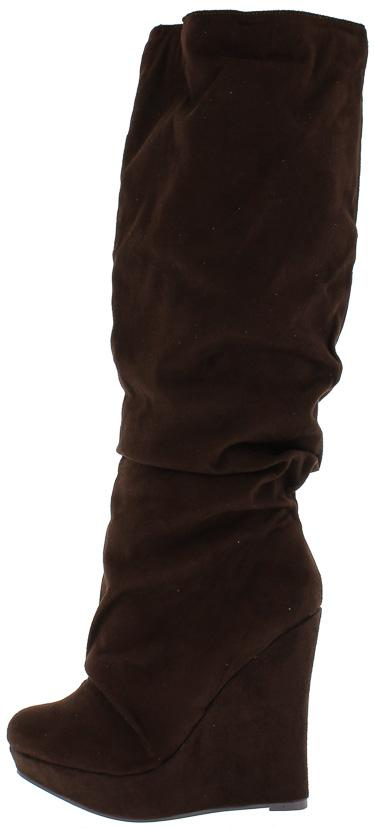 Everly183 Brown Almond Toe Platform Wedge Boot - Wholesale Fashion Shoes