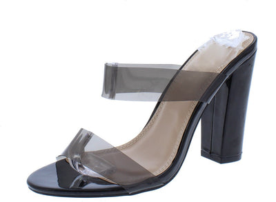 Josiah096 Black Lucite Dual Strap Chunky Mule Heel - Wholesale Fashion Shoes