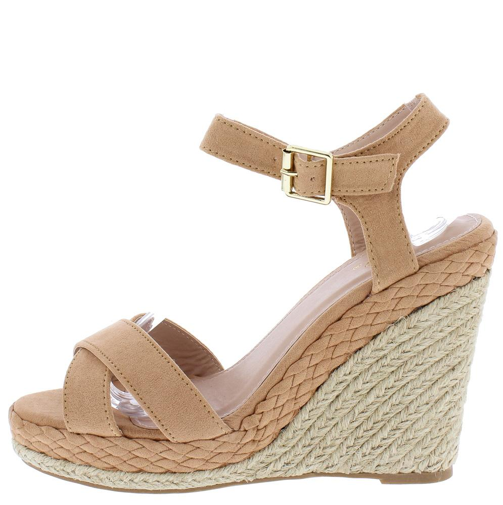07104d85edf Elara08 Blush Cross Strap Open Toe Braided Espadrille Wedge