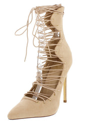 GAIL NUDE POINTED TOE LACE UP STILETTO HEEL - Wholesale Fashion Shoes