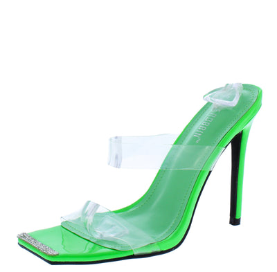 Elegance Green Rhinestone Square Toe Lucite Mule Heel - Wholesale Fashion Shoes
