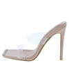 Elegance Nude Rhinestone Square Toe Lucite Mule Heel - Wholesale Fashion Shoes