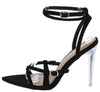 Elena Black Strappy Open Toe Ankle Strap Lucite Stiletto Heel - Wholesale Fashion Shoes