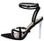 Elena Black Strappy Open Toe Ankle Strap Lucite Stiletto Heel