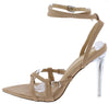 Elena Camel Strappy Open Toe Ankle Strap Lucite Stiletto Heel - Wholesale Fashion Shoes