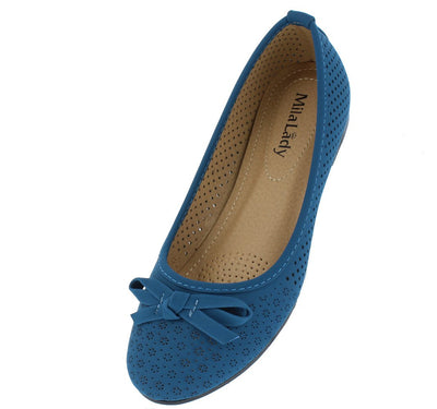 Elisa2 Blue Perforated Bow Detail Ballet Flat - Wholesale Fashion Shoes