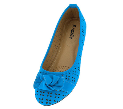 Elisa3 Blue Perforated Bow Almond Toe Flat - Wholesale Fashion Shoes