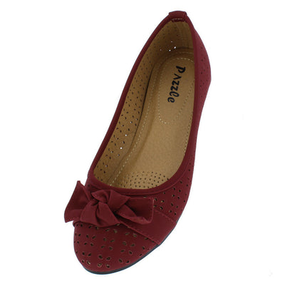 Elisa3 Burgundy Perforated Bow Almond Toe Flat - Wholesale Fashion Shoes