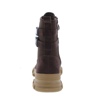 Elisa3 Brown Lace Up Dual Buckle Combat Boot - Wholesale Fashion Shoes