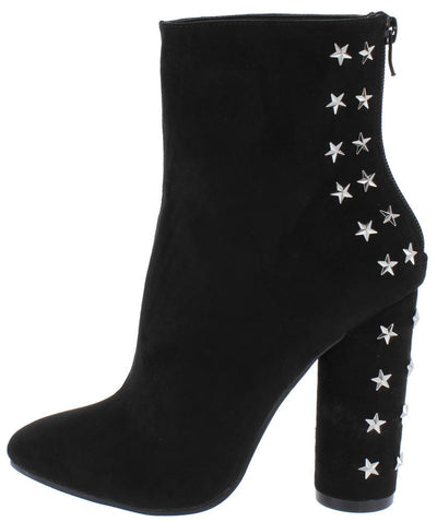 Elise05 Black Star Studded Pointed Toe Ankle Boot - Wholesale Fashion Shoes
