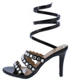 Elise60 Black Multi Rhinestone Strap Ankle Wrap Stiletto Heel - Wholesale Fashion Shoes