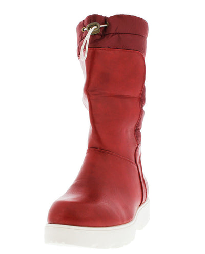 Elita2 Red Pu Quilted Puffer Snow Boot - Wholesale Fashion Shoes