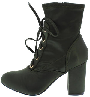 b0ac2d8b2730 Elite03 Olive Silk Lace Up Chunky Heel Ankle Boot - Wholesale Fashion Shoes