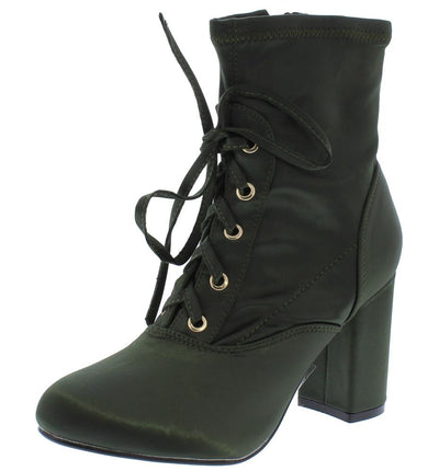 Elite03 Olive Silk Lace Up Chunky Heel Ankle Boot - Wholesale Fashion Shoes