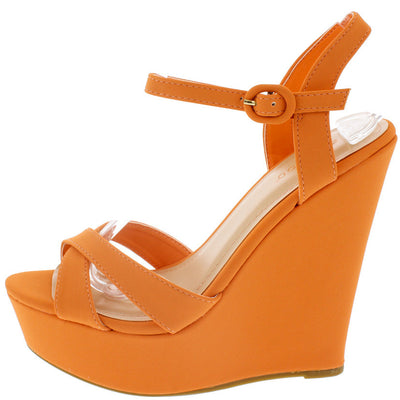 Eliza25 Tangerine Ankle Strap Platform Wedge - Wholesale Fashion Shoes