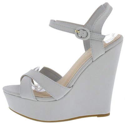 Eliza25 Light Grey Ankle Strap Platform Wedge - Wholesale Fashion Shoes
