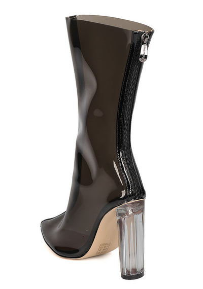 Ella1 Black Clear Pointed Toe Lucite Mid Calf Boot - Wholesale Fashion Shoes