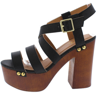 Elma04a Black Pu Open Toe Multi Strap Gold Detailing Wood Platform Heel - Wholesale Fashion Shoes