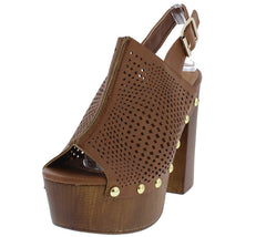 ELMA28A RUST PU WOMEN'S HEEL - Wholesale Fashion Shoes