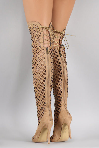 Elnora1 Nude Open Toe Multi Diamond Cut Out Lace Up Boot - Wholesale Fashion Shoes