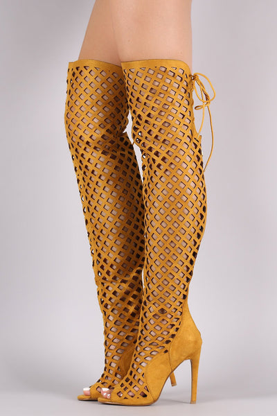 Elnora1 Yellow Open Toe Multi Diamond Cut Out Lace Up Boot - Wholesale Fashion Shoes