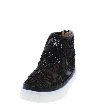 Moon1k Black High Top Lace Rhinestone Sneaker Kids Flat - Wholesale Fashion Shoes