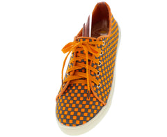 COLLEEN ORANGE WOVEN LACE UP SNEAKER FLAT - Wholesale Fashion Shoes