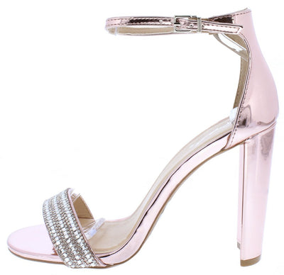 Elsi10 Rose Pink Rhinestone Open Toe Ankle Strap Heel - Wholesale Fashion Shoes