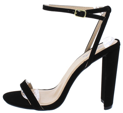Elsi15 Black Nubuck Open Toe Ankle Strap Wide Heel - Wholesale Fashion Shoes