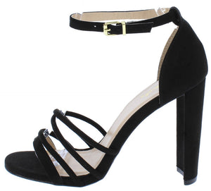 33af0bc25467 Elsi20 Black Suede Pu Strappy Open Toe Ankle Strap Heel - Wholesale Fashion  Shoes
