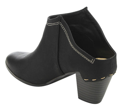 Elton6 Black Almond Toe Stacked Chunky Heel Mule Boot - Wholesale Fashion Shoes