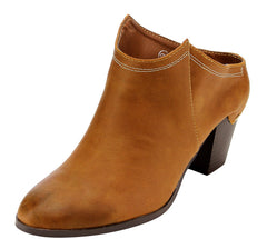 ELTON6 ORANGE ALMOND TOE STACKED CHUNKY HEEL MULE BOOT - Wholesale Fashion Shoes