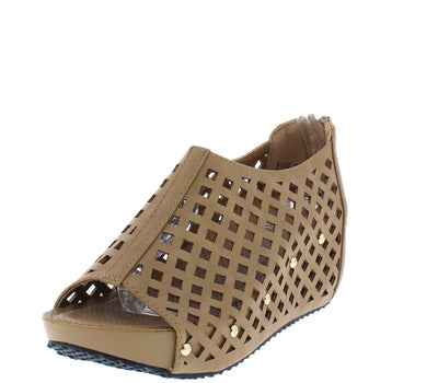 Elva08 Taupe Laser Cut Peep Toe Covered Wedge - Wholesale Fashion Shoes