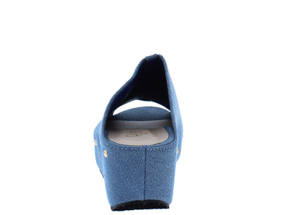 Elva11 Jean Peep Toe Covered Slide Wedge - Wholesale Fashion Shoes