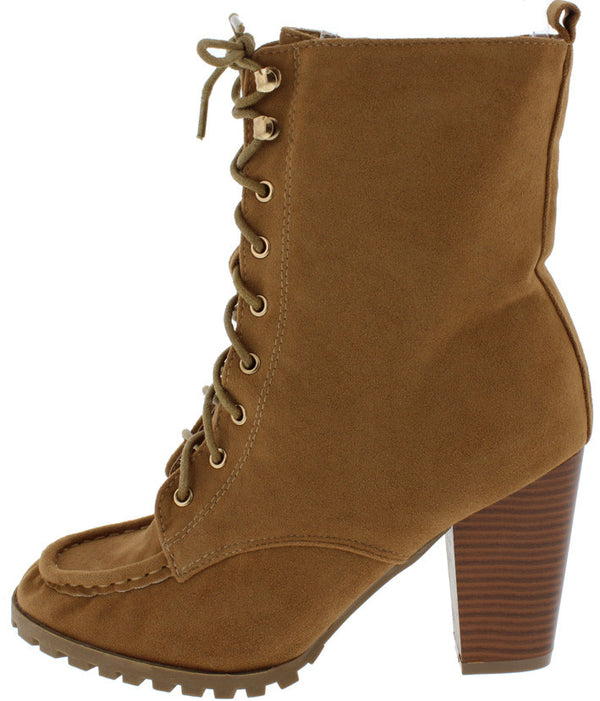 f4c6626720f Elvy15 Tan Lace Up Stacked Chunky Heel Lug Sole Boot