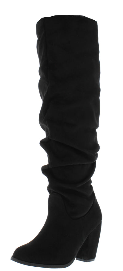 Layla237 Black Suede Knee High Chunky Heel Boot - Wholesale Fashion Shoes